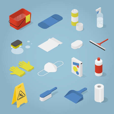 Isometric Cleaning Objects Set  イラスト・ベクター素材