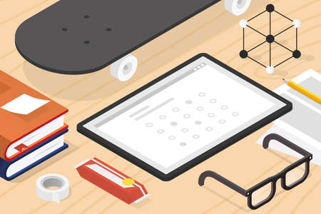 Isometric Online Exam Illustration  イラスト・ベクター素材