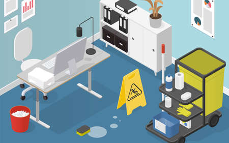 Isometric Office Cleaning Illustration