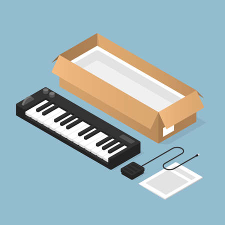 Unboxing New Keyboard Isometric Illustration