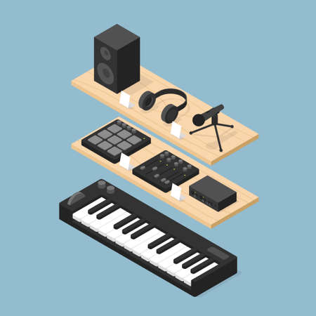 Music Equipment Store Isometric Illustration