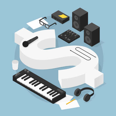 Sound Production Business Isometric Illustration