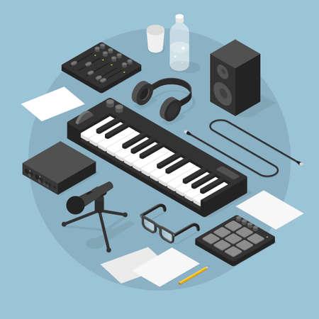 Sound Production Isometric Illustration Ilustración de vector