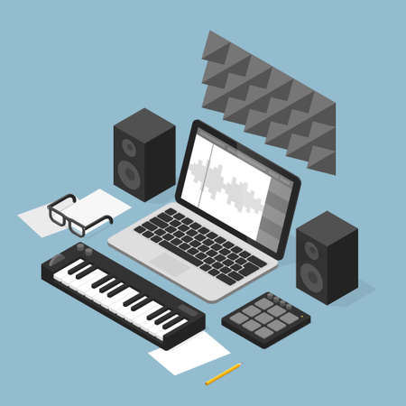 Sound Production Studio Illustration  イラスト・ベクター素材