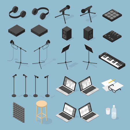 Sound Production Isometric Objects Set