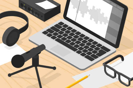 Sound Production Isometric Illustration Illusztráció