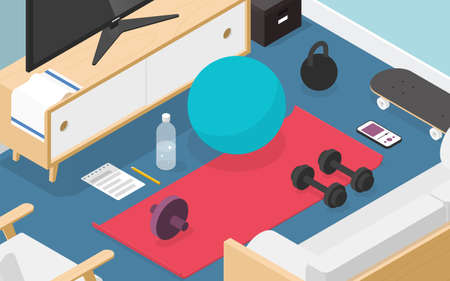 Home Workout Isometric Illustration