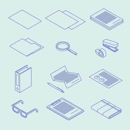 Isometric Linear Document Icon Set