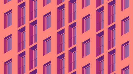 Isometric Building Facade Illustration  イラスト・ベクター素材