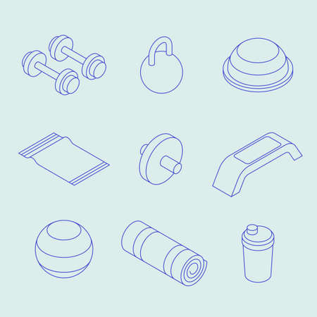 Isometric Sport Equipment Set