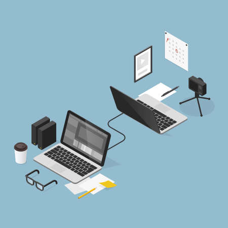 Isometric Video Editing Outsourcing Illustration