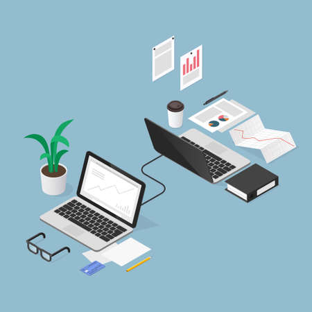 Isometric Finance Task Outsoursing Illustration
