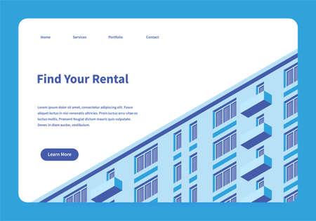 Rental Service Landing Page 向量圖像