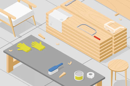 Isometric Woodworking Workshop Illustration  イラスト・ベクター素材