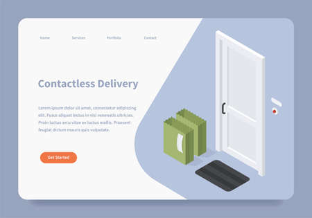 Contactless Delivery Landing Page Concept 矢量图像