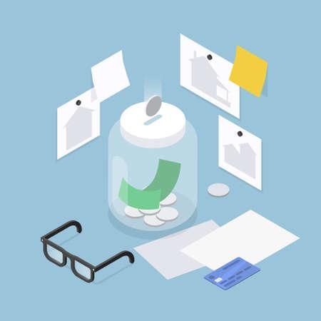 Saving Money Isometric Illustration 矢量图像