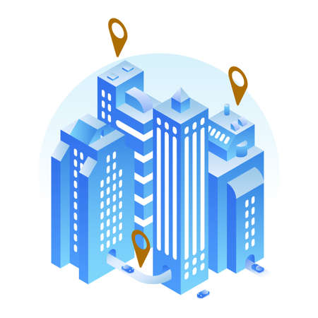 Isometric Modern City Location Illustration
