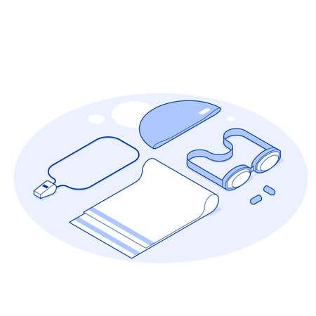 Isometric Swimming Vector Illustration