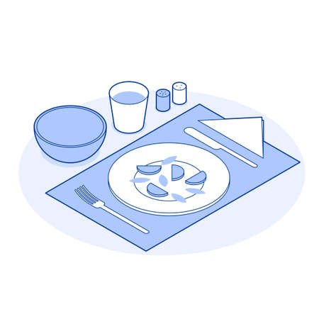 Isometric Healthy Eating Vector Illustration