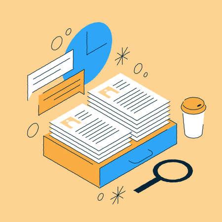 Job Recruiting Isometric Illustration