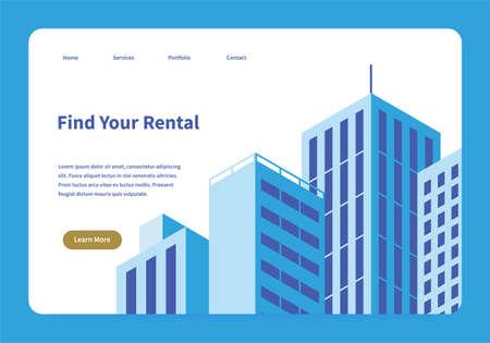 Rental Service Landing Page 矢量图像