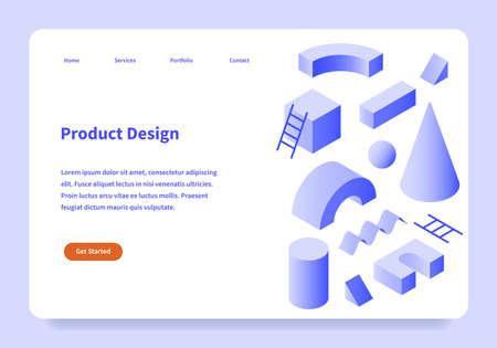 Product Design Landing Page Concept 矢量图像