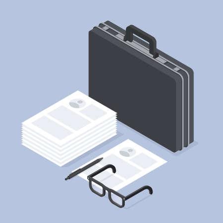 Job Recruiting Isometric Concept Illustration