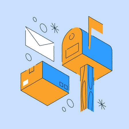 Postal Delivery Isometric Illustration