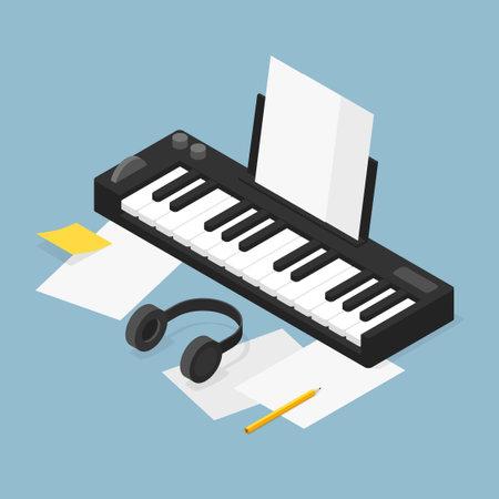 Music Production Isometric Illustration 矢量图像