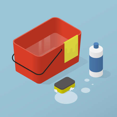 Isometric Home Cleaning Illustration