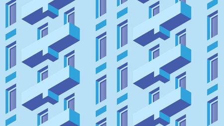 Isometric Building Facade Illustration 矢量图像