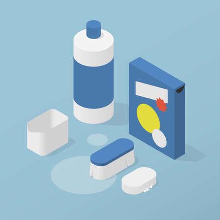 Household Chemicals Isometric Illustration 矢量图像