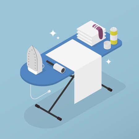 Isometric Home Laundry Illustration 矢量图像