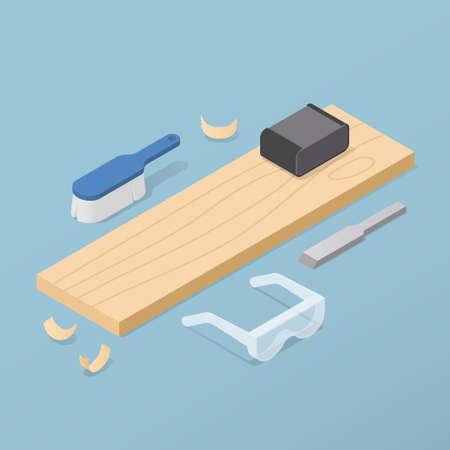 Isometric Woodworking Vector Illustration 矢量图像