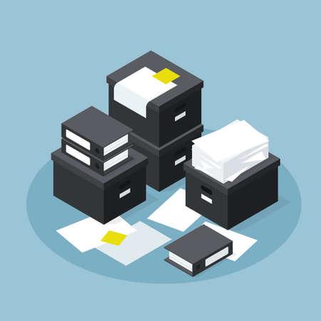 Isometric Paper Database Storage Illustration