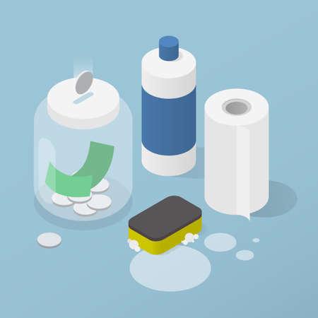 Saving Money For Cleaning Isometric Illustration