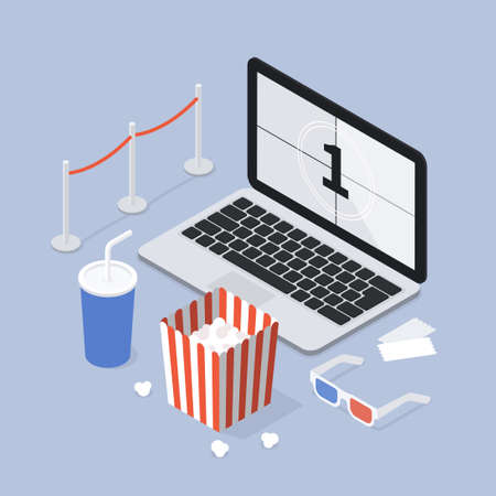 Isometric Home Online Cinema Illustration