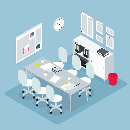 Isometric Office Workspace Illustration