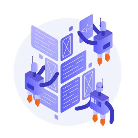 Robot Programming Isometric Illustration