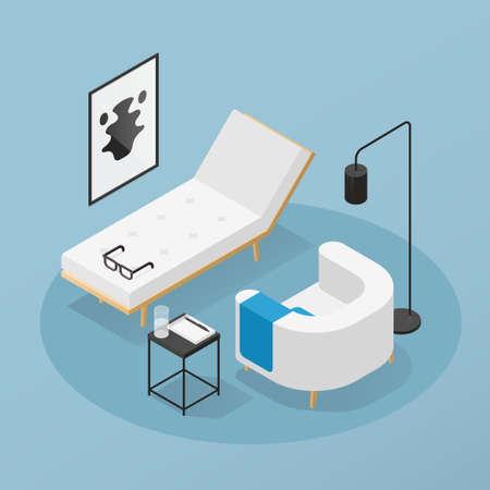Psychotherapist Office Isometric Illustration 矢量图像