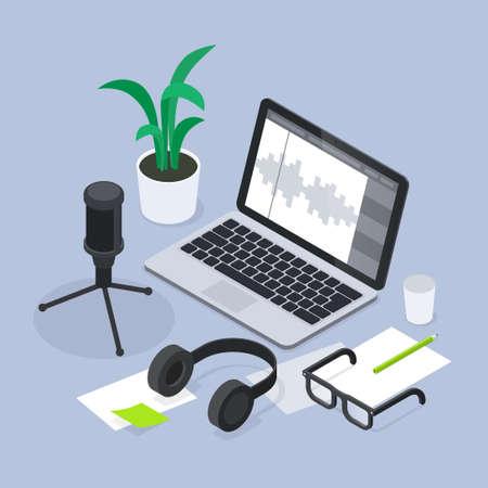 Modern Sound Production Isometric Illustration