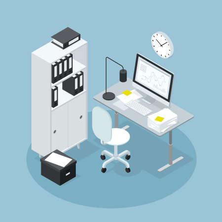 Isometric Office Business Workspace Illustration 矢量图像