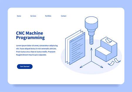 CNC Machine Programming Landing Page Concept 矢量图像