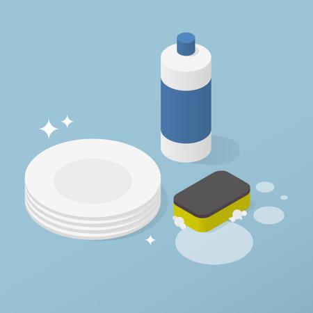 Washing Dishes Detergent Isometric Illustration