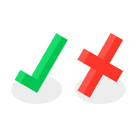 Yes No Accept Reject Checkmark Cross Isometric