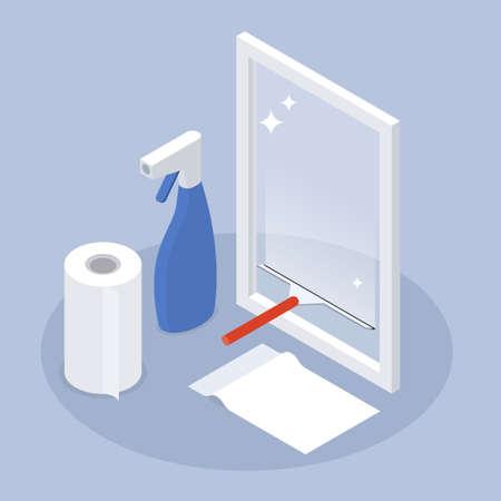Window Cleaning Service Isometric Illustration