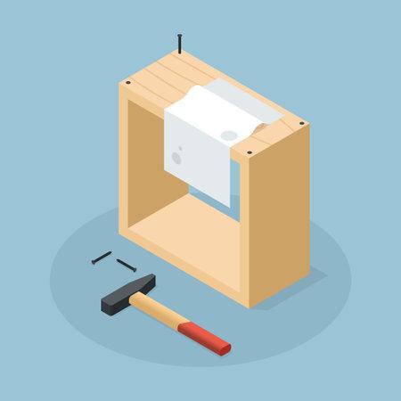 Isometric Woodworking Craft Vector Illustration 矢量图像