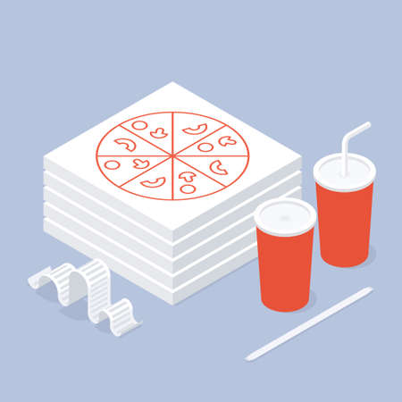 Fast Food Pizza Soda Order Isometric Illustration