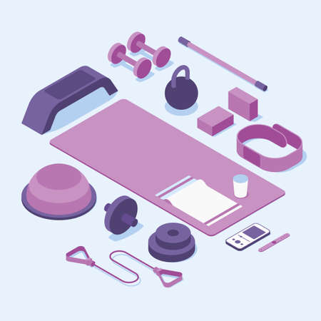 Isometric Gym Fitness Sport Vector Illustration