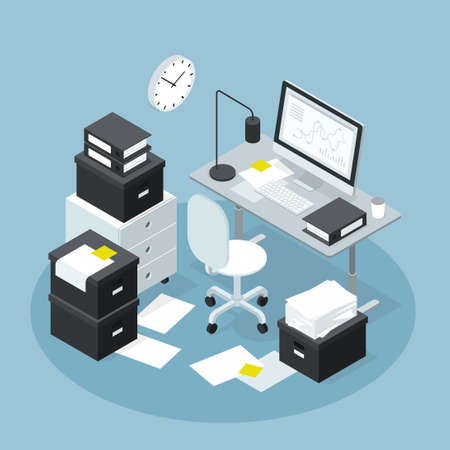 Isometric Office Workplace Papers Illustration 矢量图像